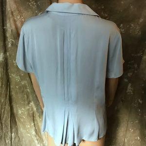 Silk blouse, short sleeve, light blue, size 14P
